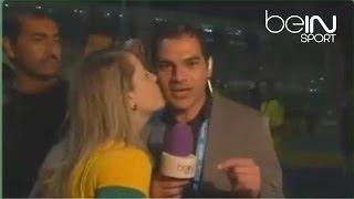 مُشجعة برازيلية تُقبل مراسل beIN وتحرجه لقطة حصريه