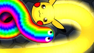Slither.io Power Of Pikachu Tiny Vs Giant Snake Slitherio Best Moments!