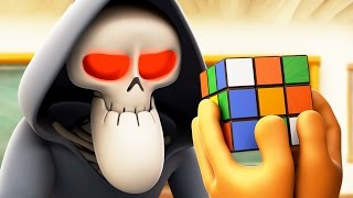 Funny Animated Cartoon | Spookiz Skeleton Teacher Completes Rubiks Cube 스푸키즈 | Cartoon for Children