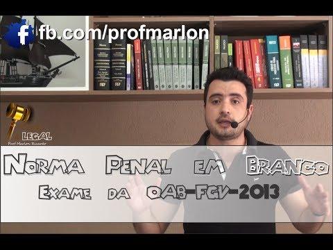 Baixar Norma Penal em Branco - Exame da OAB - FGV - 2013 - Marlon Ricardo