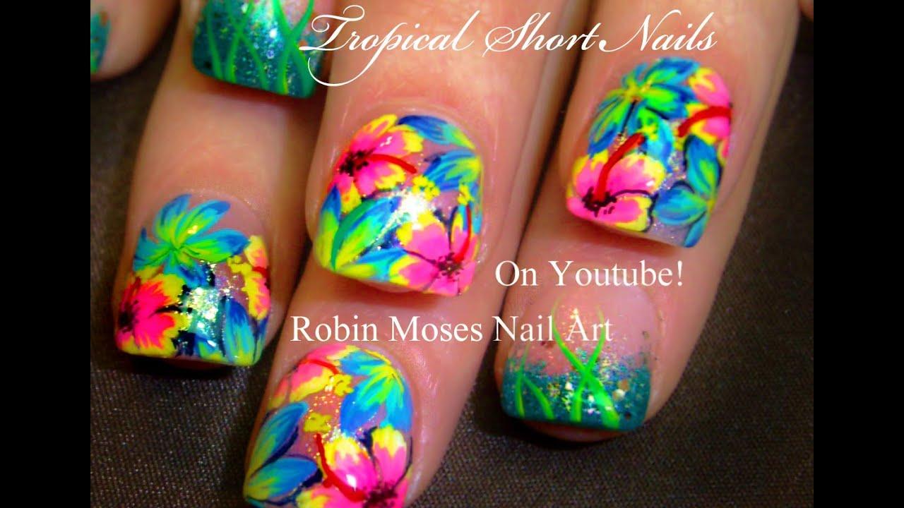 Tropical Flower Nail Art Tutorial Youtube