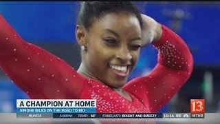 Visit Simone Biles at her home in this pre-Olympics interview