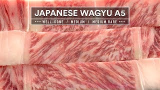 Japanese Wagyu A5 Experiment - Well-Done, Medium & Medium-Rare
