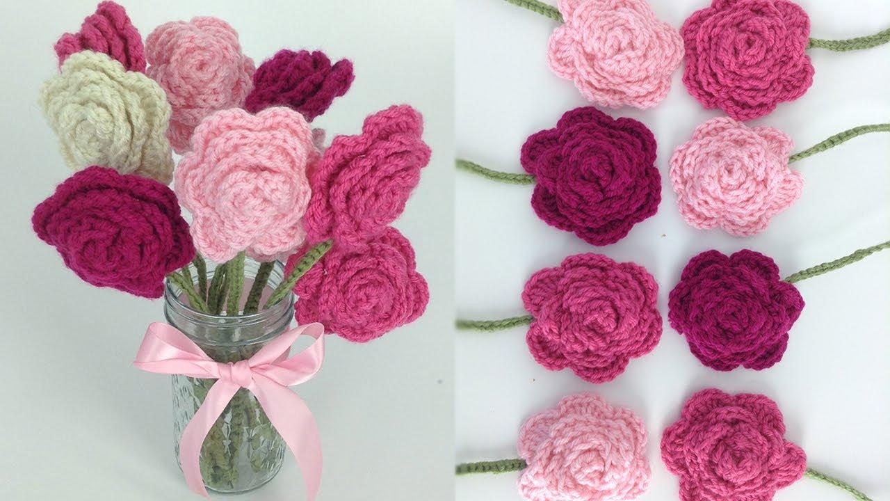 Deborah Norville Yarn Free Crochet Patterns : Crochet Rose Bouquet Free Pattern - Right Hand - YouTube