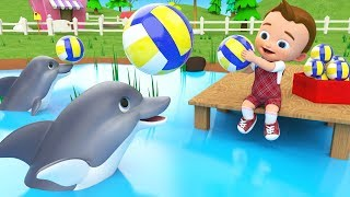 Learn Numbers for Children with Little Baby Fun Play with Dolphins Balls Pool Numbers for Kids