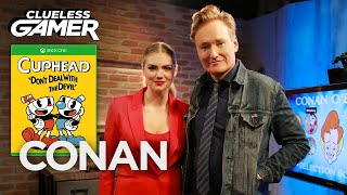 "Clueless Gamer: ""Cuphead"" With Kate Upton  - CONAN on TBS"