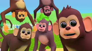 Five Little Monkeys Nursery Rhymes For Children - Learn Animals Names & sounds