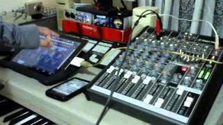 iPad connected to Mackie ProFX8 Studio Mixer