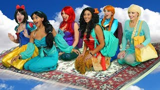 JASMINE'S FLYING CARPET CARPOOL. (With Moana, Ariel, Snow White, Elsa and Anna)