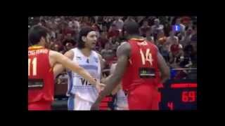 Serge Ibaka fight against Luis Scola