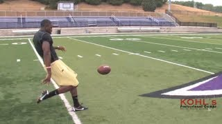 5.5 sec Hang Time   NFL Raiders Marquette King Crushes Punts   Kohl's Kicking Camps
