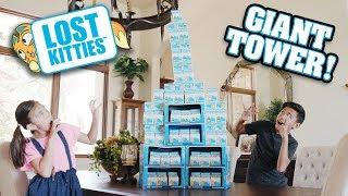 LOST KITTIES CHALLENGE!!! Who'z Hidin Inside the Giant Tower of Kitties? HUGE Unboxing!
