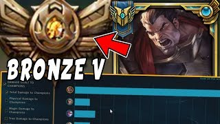 CHALLENGER Darius Goes Into BRONZE 5! HARD Smurfing In Bronze V - League Of Legends