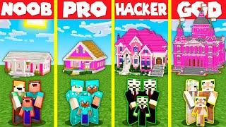Minecraft Battle: GIRL PINK HOUSE BASE BUILD CHALLENGE - NOOB vs PRO vs HACKER vs GOD / Animation