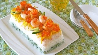 Juicy Sushi Cake with Crab for Doll's Festival
