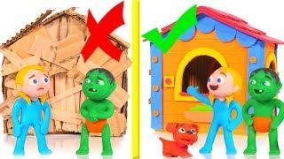 KIDS BUILDING A CARDBOARD HOUSE VS STRONG BRICKS HOUSE  ❤ SUPERHERO PLAY DOH CARTOONS FOR KIDS