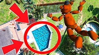 CAN WITHERED FREDDY STUNT LAND IN A POOL OF CHICAS? (GTA 5 Mods For Kids FNAF Funny Moments)