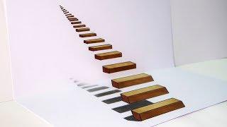 Cómo dibujar una INCREÍBLE escalera 3D | How to draw a 3D Stair | ILUSIÓN ÓPTICA ANAMÓRFICA 3D