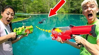POND MONSTER NERF WAR!!