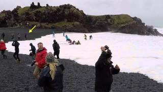 Big sneaker wave at Djúpalónssandur, Iceland