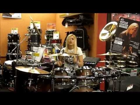 hannah ford guitar center arlington hts il peace love drums tour youtube. Black Bedroom Furniture Sets. Home Design Ideas