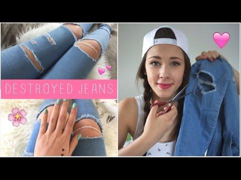 diy destroyed jeans ripped jeans selber machen. Black Bedroom Furniture Sets. Home Design Ideas