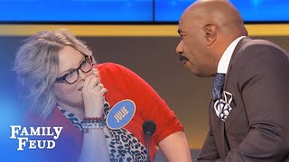 Need an answer? Don't LOOK at Steve! | Family Feud