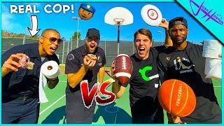 Challenging POLICE OFFICERS to TRICK SHOT BATTLE!