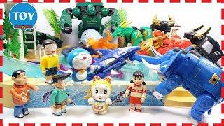 Đồ chơi Doremon - Nobita đi bơi cùng Doremi gặp cáp mập robot siêu thú