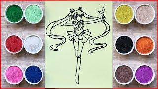 TÔ MÀU TRANH CÁT THỦY THỦ  MẶT TRĂNG SAILOR MOON - Colored sand painting toys - Đồ chơi Chim Xinh