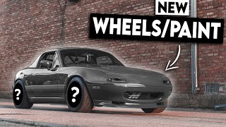 HIGH COMPRESSION Turbo Miata Gets a HUGE MAKEOVER!!! (New Paint & Wheels)