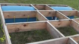 Building a floating raft (using barrels) with children's slide