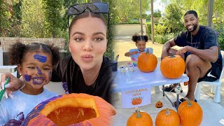 Khloe Kardashian and Tristan Thompson Throw ADORABLE Pumpkin Painting Party for Daughter True
