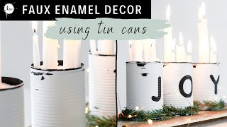 Upcycled Tin Cans - Last Minute Christmas Centerpiece - Rustic Effect !