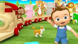 Learning Animals Names with Baby Fun Playing Wooden Train Toy Set 3D Kids Toddler Educational Video
