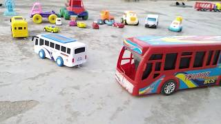 Kids Playing with BUS TRUCK Police car Exavator