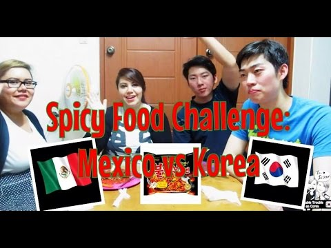 Spicy Korean Ramen Challenge: Mexico VS Korea! (불닭 볶음면 도전 : 한국 VS 멕시코!) ♥ #DTEC