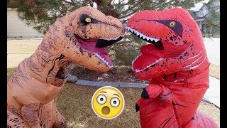 Red T-Rex vs Giant T-Rex! Ball Pit Ball Fun! Funny Inflatable Dinosaurs | Playtime Movie