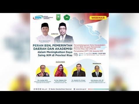 https://youtu.be/N_wPKbsaHhoPeran BSN, Pemerintah Daerah dan Akademisi dalam Meningkatkan Daya Saing IKM di Provinsi Riau