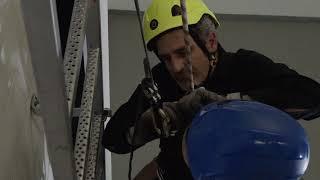 Ladder rescue in a wind turbine