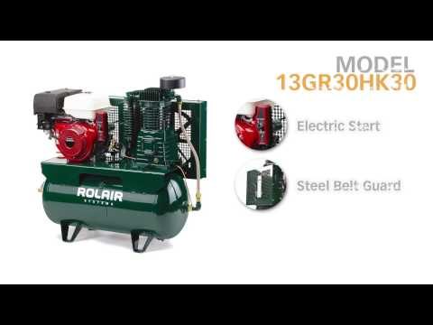 video Rolair 13 HP 30 Gallon 2 Stage Truck Mount Air Compressor Honda Engine 13GR30HK30