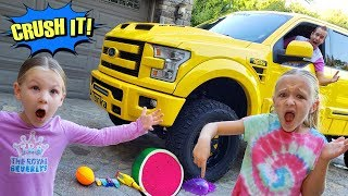Crushing Stuff with My Dad's Giant Yellow Tonka Truck!!!