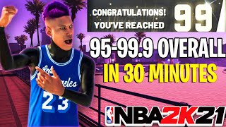 FASTEST WAY TO GET 99 OVERALL IN NBA 2K21!! 99 OVERALL IN 30 MINUTES NBA 2K21 GLITCH!!!
