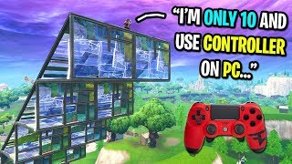 10 year old uses controller on PC to 1v1 me in Fortnite playground...