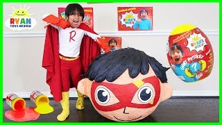 Superhero Kid Ryan Red Titan BIGGEST GIANT EGG SURPRISE OPENING with Ryan's World Toys!!!