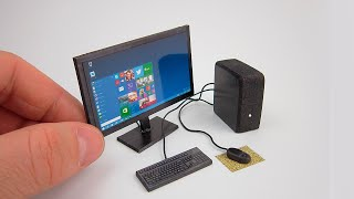 DIY Realistic Miniature Desktop PC with LED Widescreen Monitor  | DollHouse | No Polymer Clay!