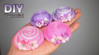 DIY - How to make Mini Hat - Hair Clips RECYCLE | Tutorial jepit rambut topi tali kur | Tutup botol