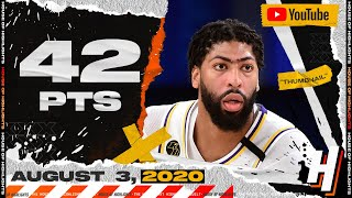 Anthony Davis 42 Points 12 Reb Full Highlights | Lakers vs Jazz | August 3, 2020