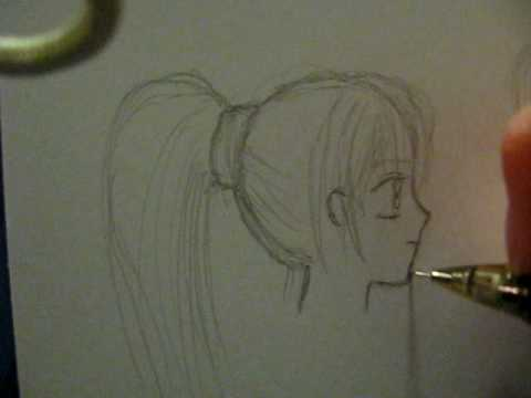 How to draw a female anime face, side view - YouTube