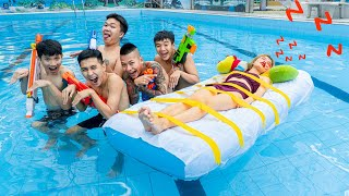 Sister WAKES UP IN SWIMMING POOL PRANK - Seal Warriors Nerf Guns Fight Criminal Battle | Action Nerf
